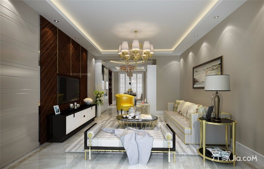 110平现代风格三居客厅装修效果图