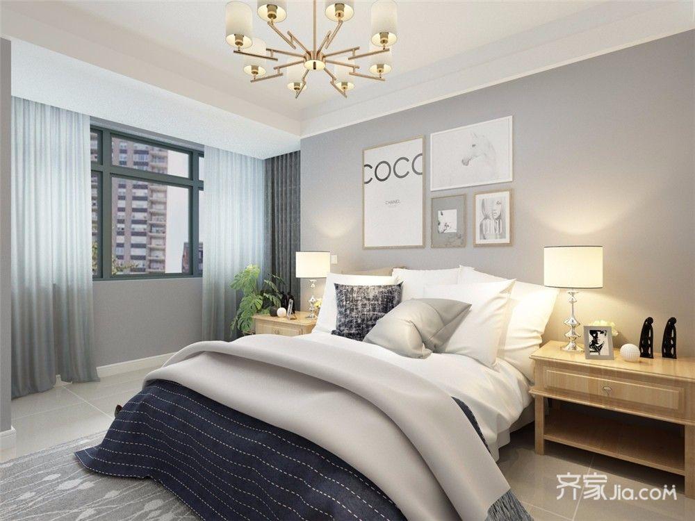 110㎡二居现代简约卧室背景墙装修效果图