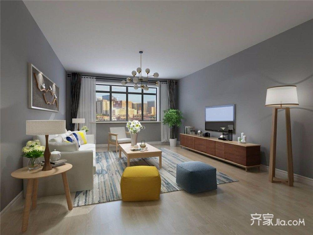 110㎡二居现代简约客厅装修效果图