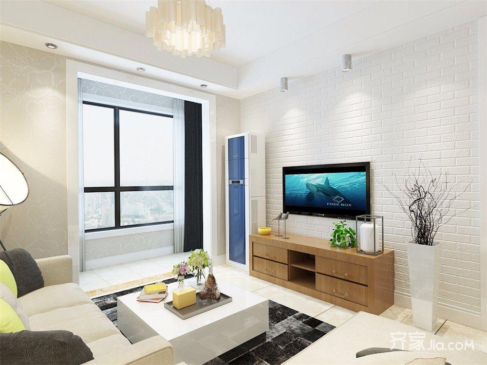 现代风格两居室电视背景墙装修效果图