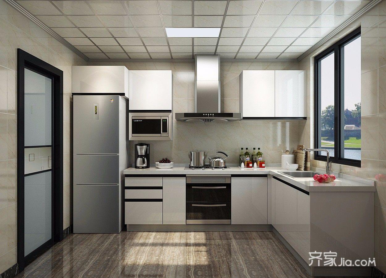 88㎡美式风格三居厨房装修效果图