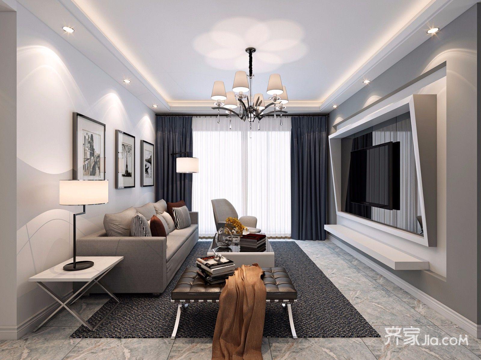 110平现代风三居室客厅装修效果图