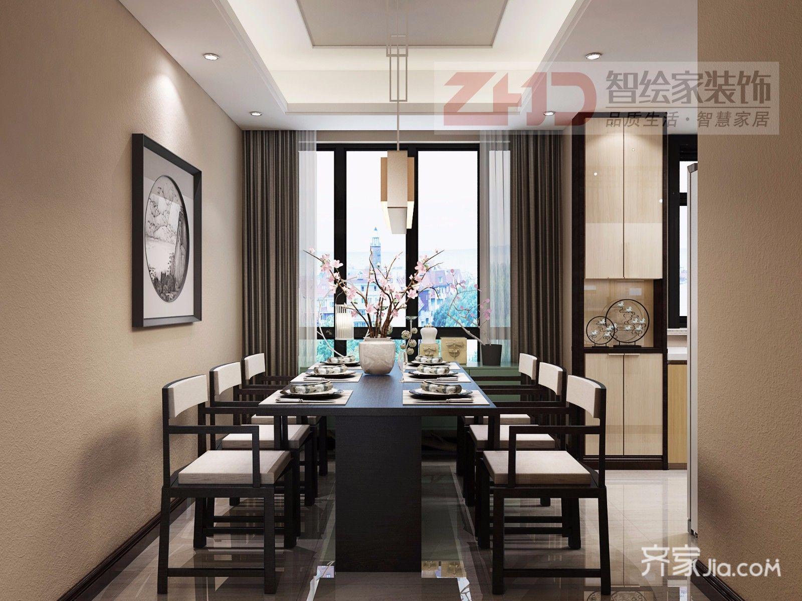 108㎡新中式三居餐厅装修效果图