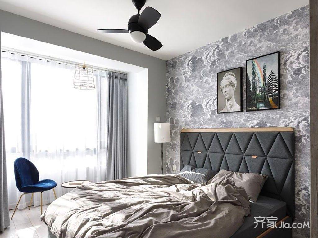 小户型北欧风格二居床头背景墙装修效果图