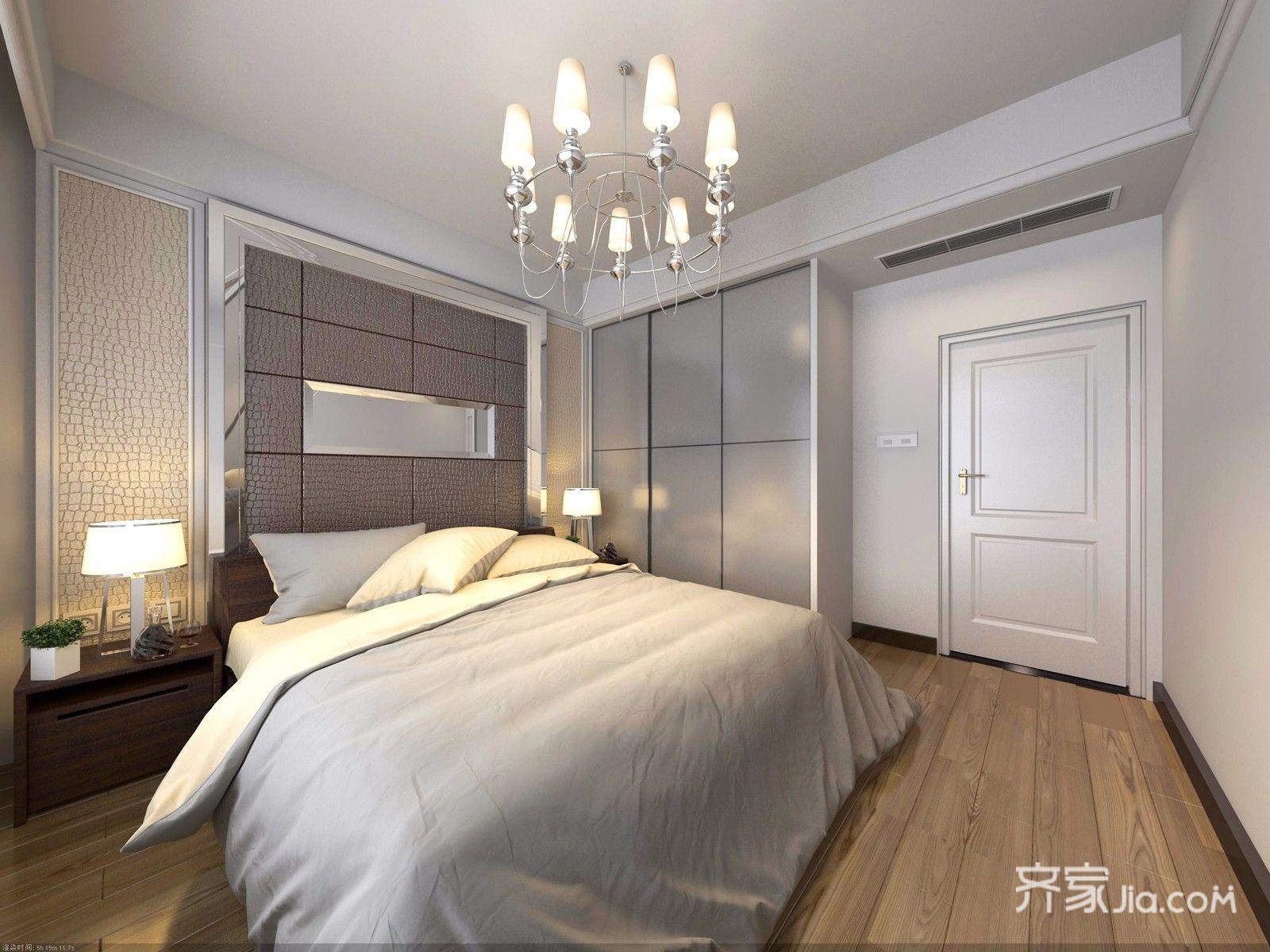85㎡二居现代简约卧室装修效果图