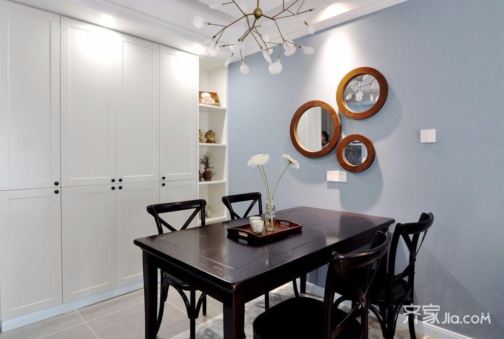 简约美式风格两居餐厅背景墙装修设计图