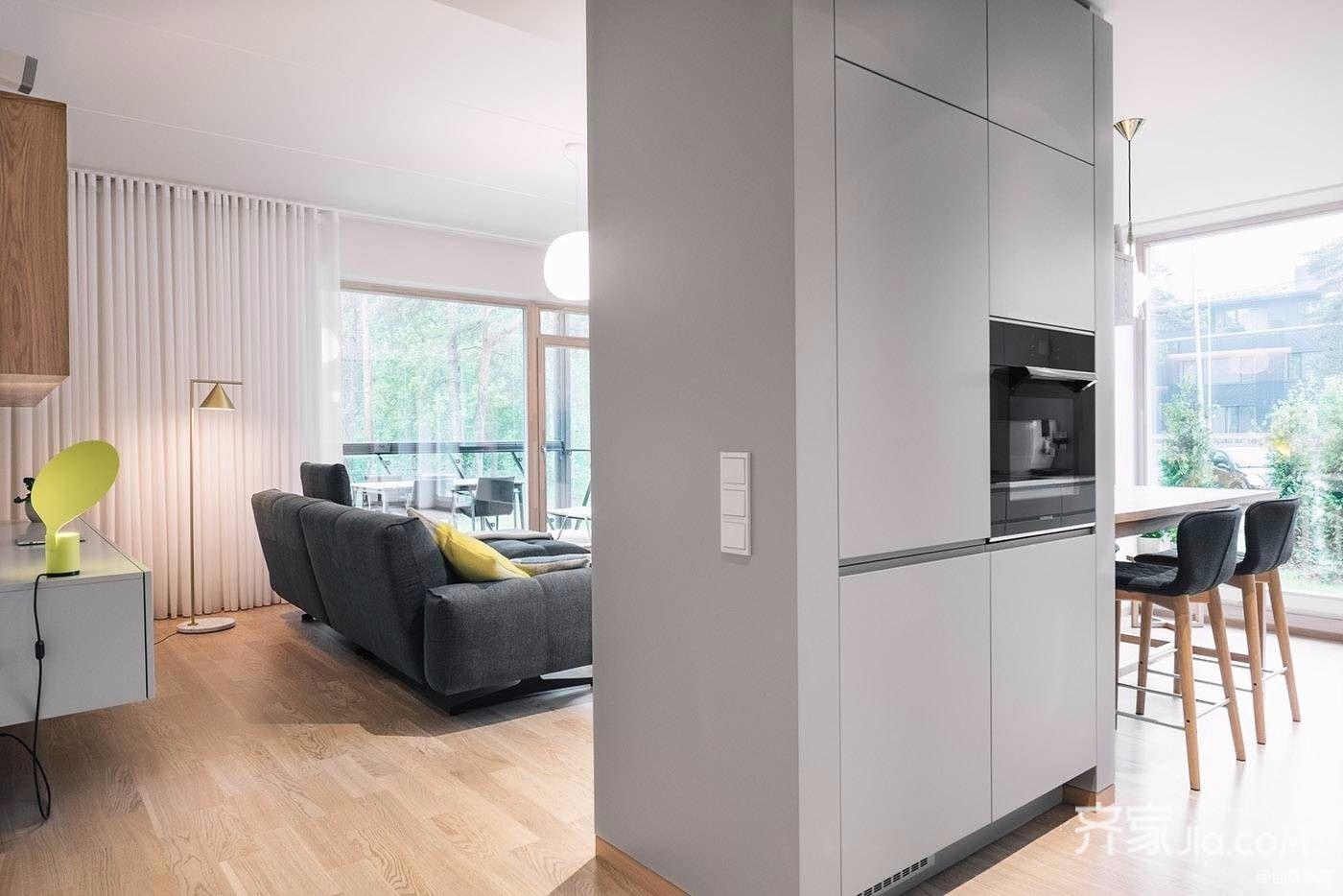 极简风格三居室装修隔断墙效果图