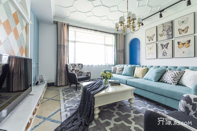 135㎡美式风格三居客厅装修效果图