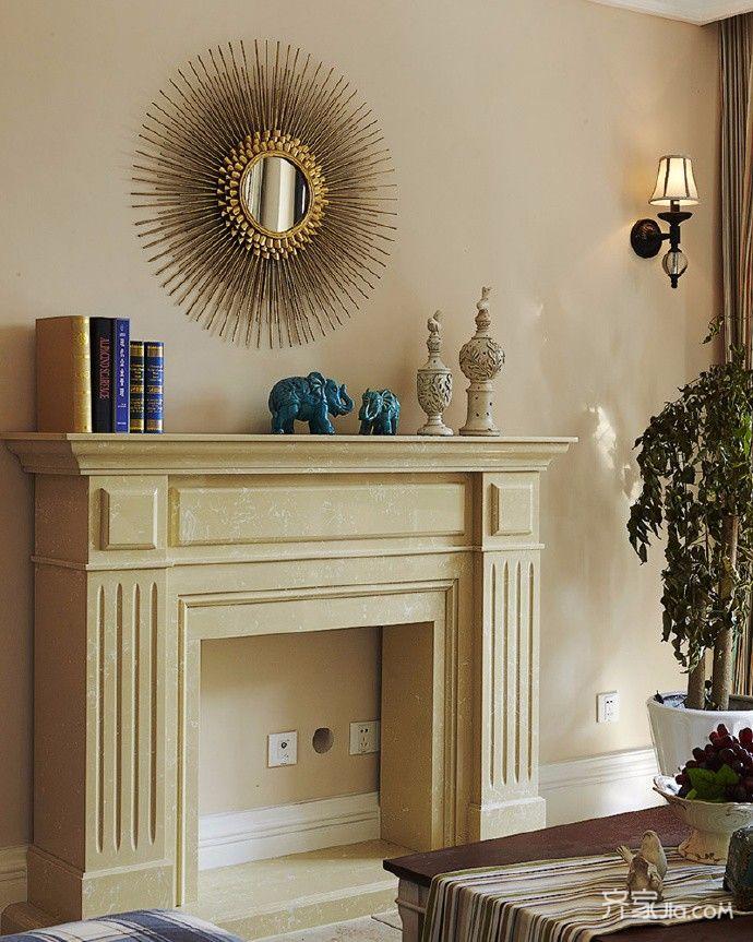 美式田园风三居室装修造型壁炉效果图