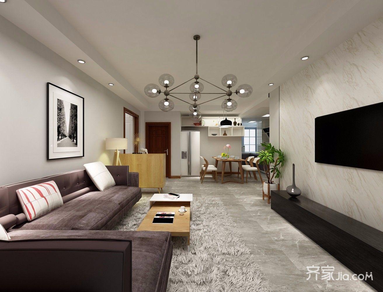 126平简约风格三居客厅装修效果图