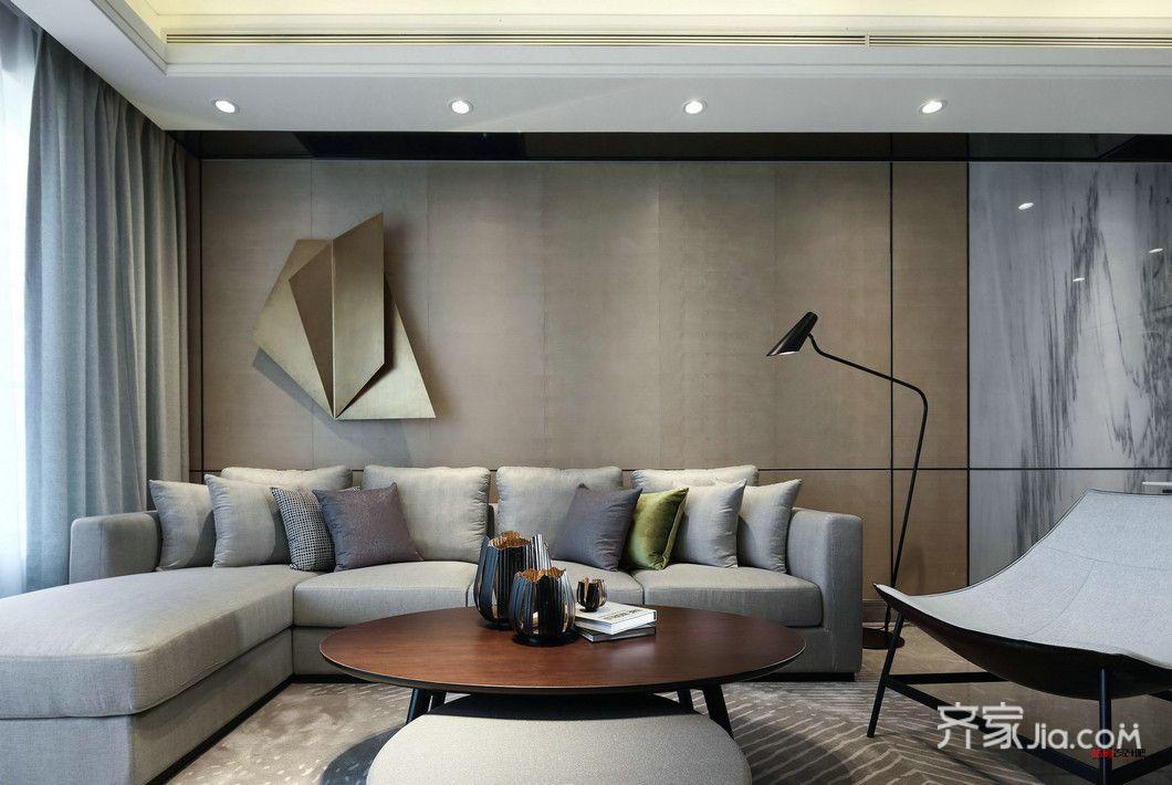 134㎡现代简约三居客厅装修效果图