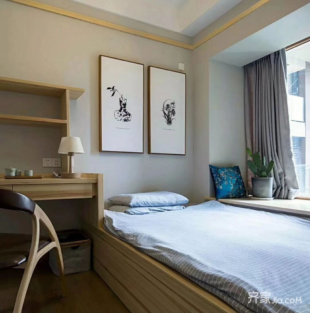 90平原木北欧风卧室装修设计图