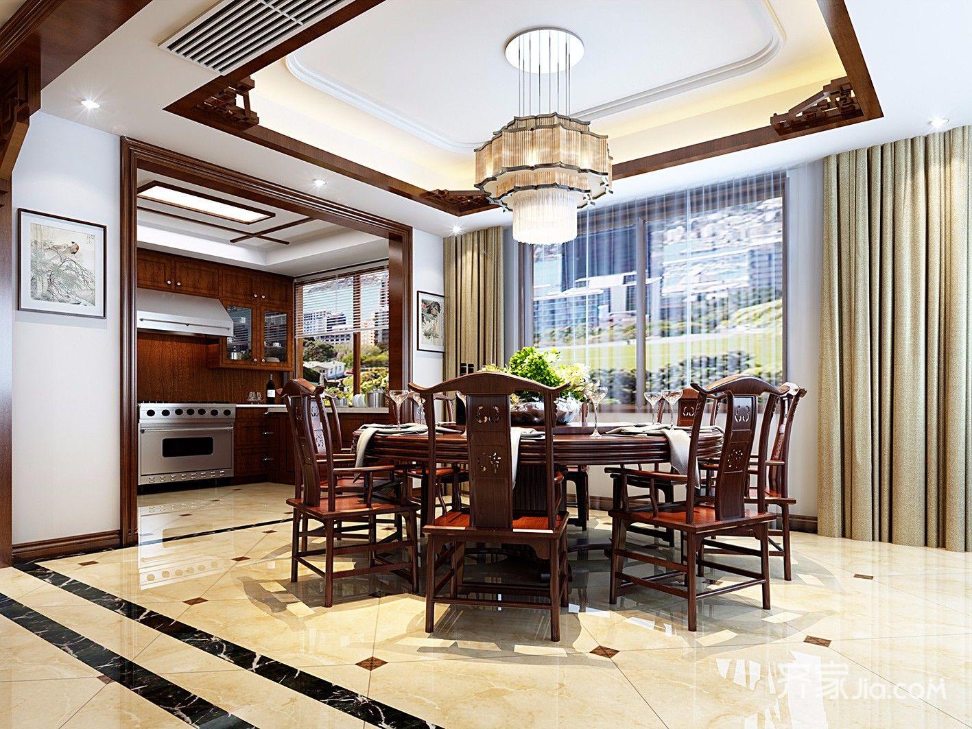 大户型中式风别墅餐厅装修效果图
