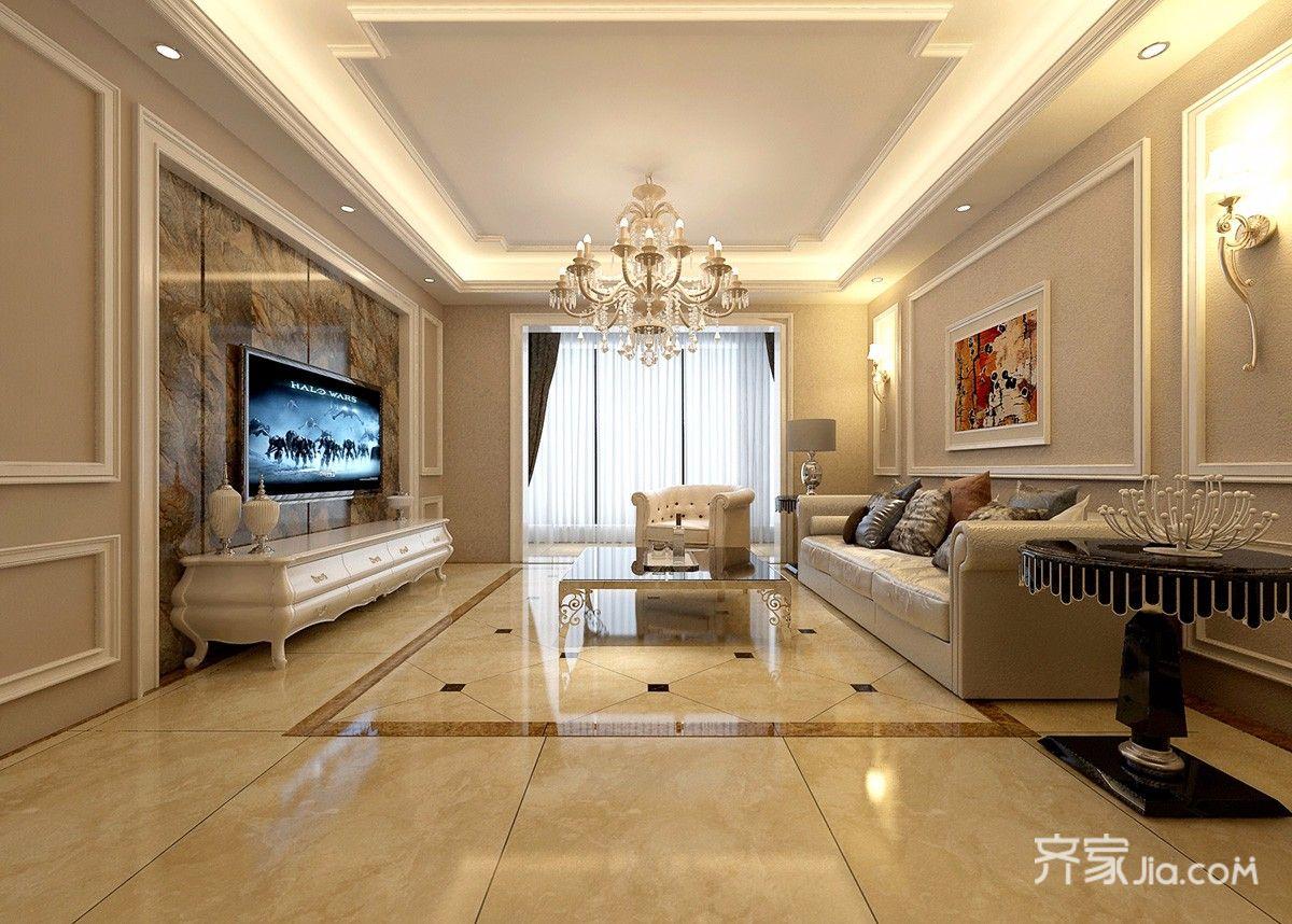 欧式风格两居室客厅装修效果图