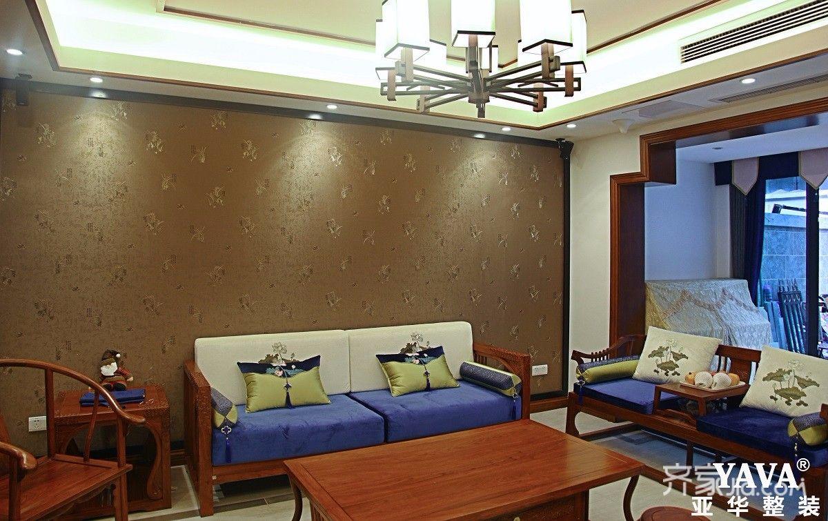 130平中式风格四居沙发背景墙装修效果图