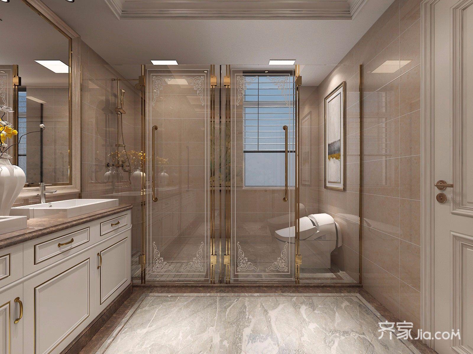 130平欧式风格三居卫生间装修效果图