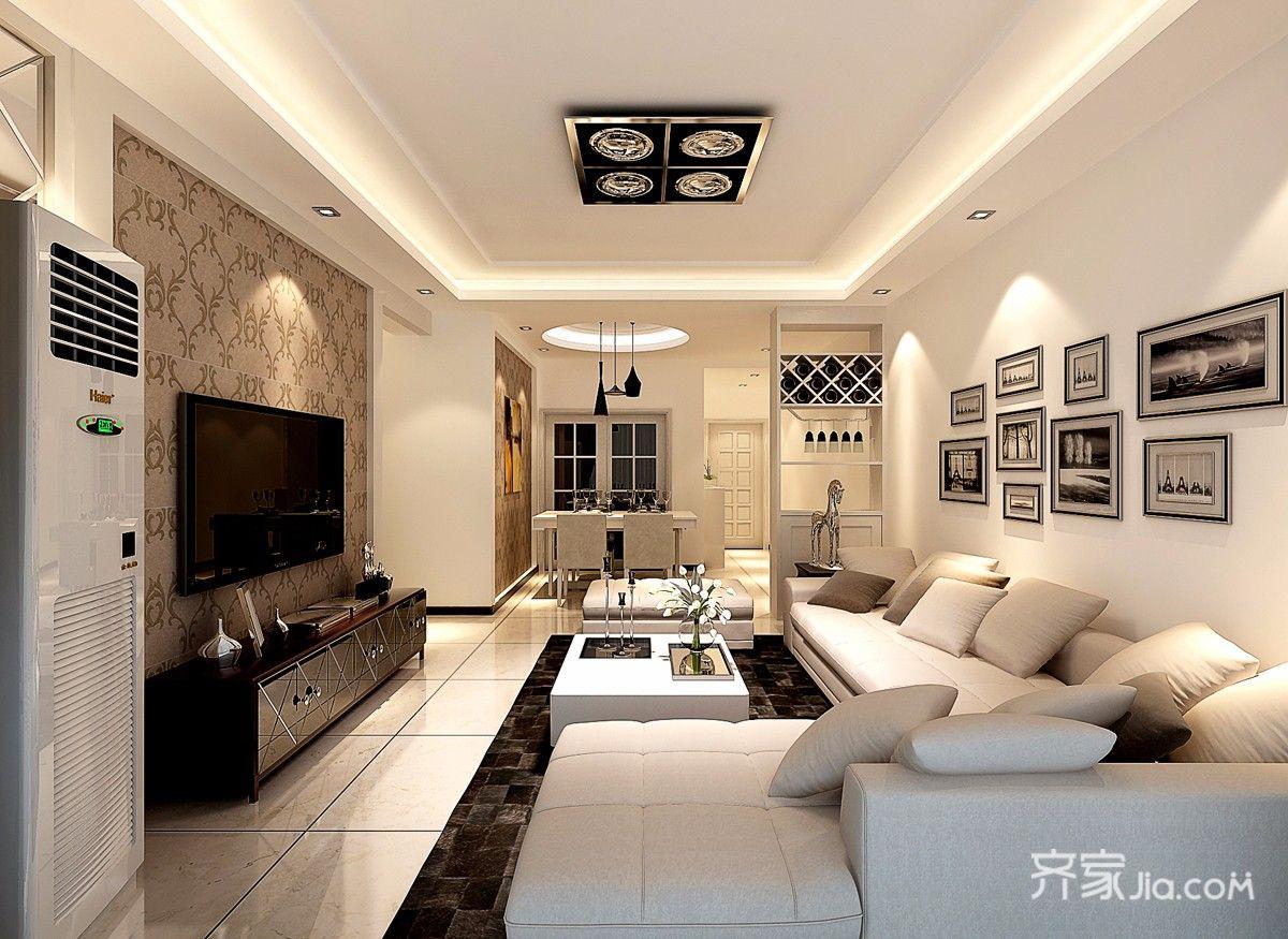 两居室现代简约客厅装修效果图