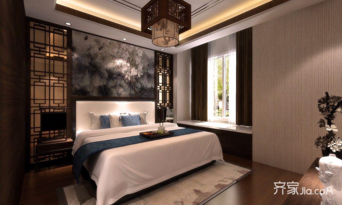 中式风格四居卧室装修效果图