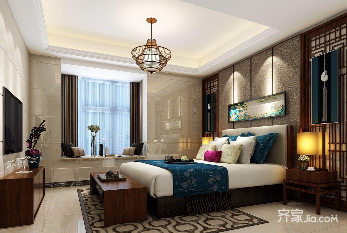 大户型复式中式装修卧室效果图