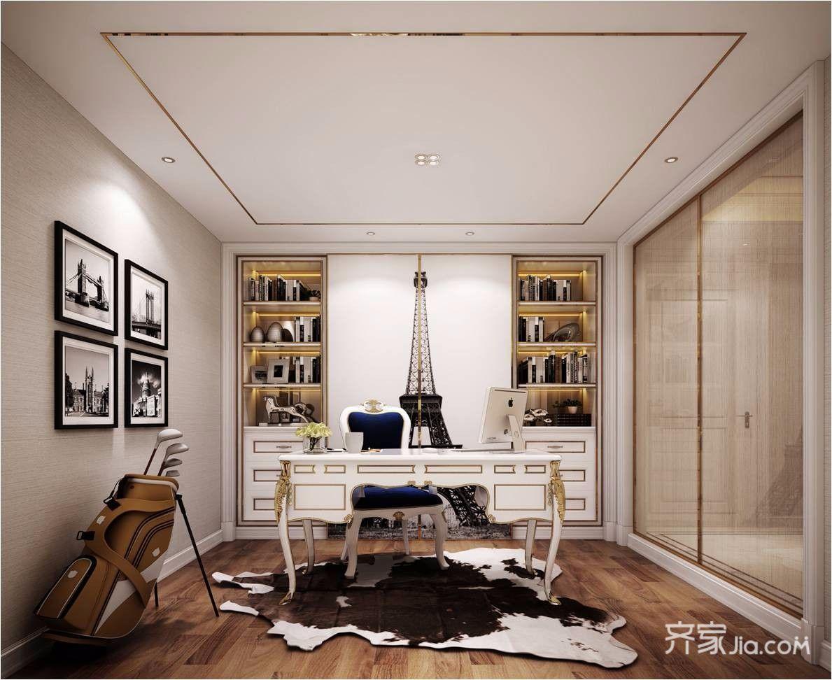 现代简欧风格三居书房装修效果图