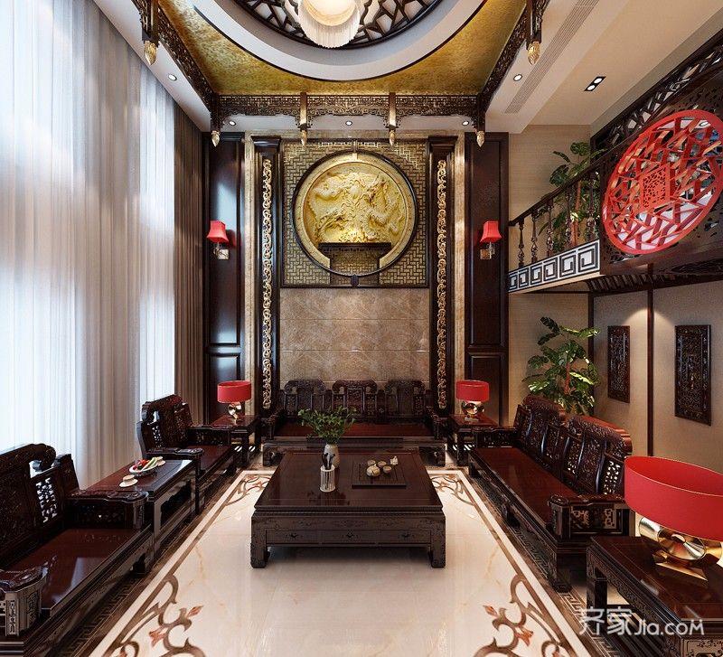 奢华中式风格别墅客厅装修效果图
