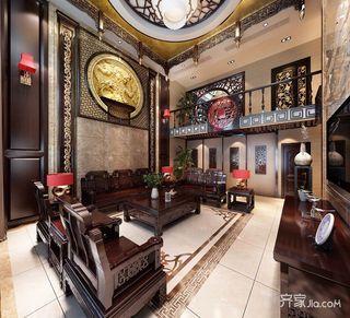 奢华中式风格别墅沙发背景墙装修效果图