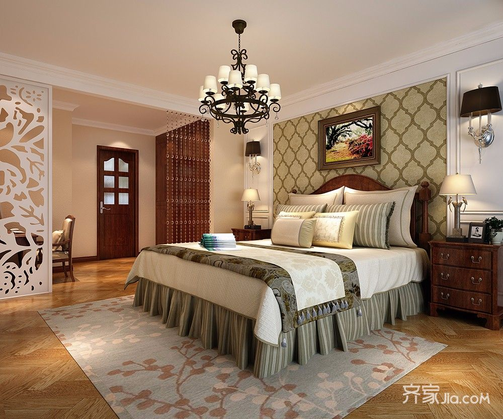 大户型美式乡村卧室装修效果图