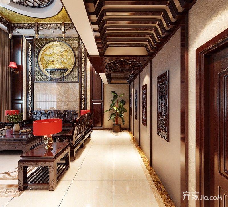 奢华中式风格别墅过道装修效果图