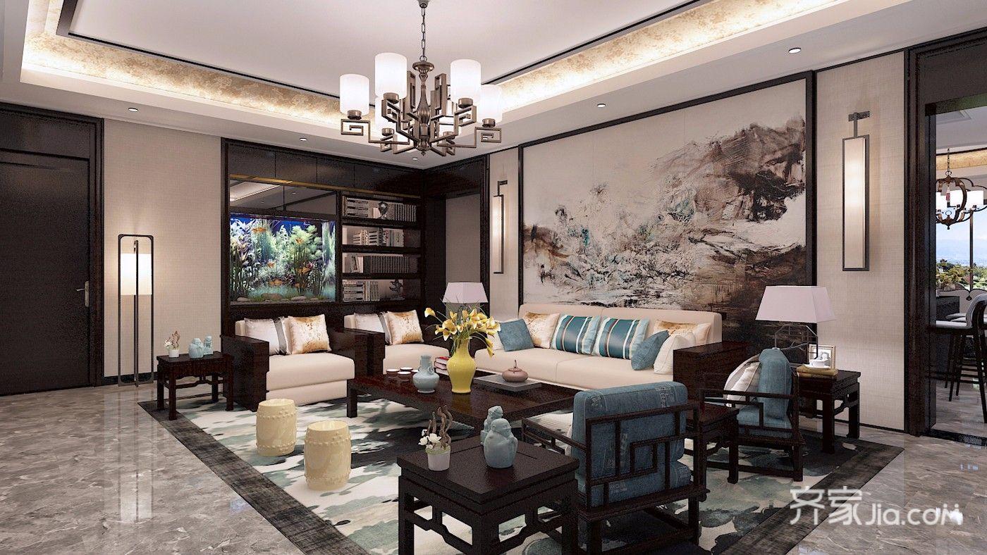 350平米中式别墅客厅装修效果图