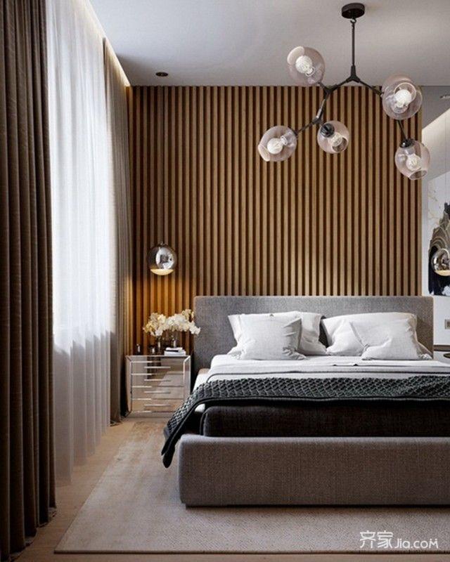 89平现代简约两居床头背景墙装修效果图