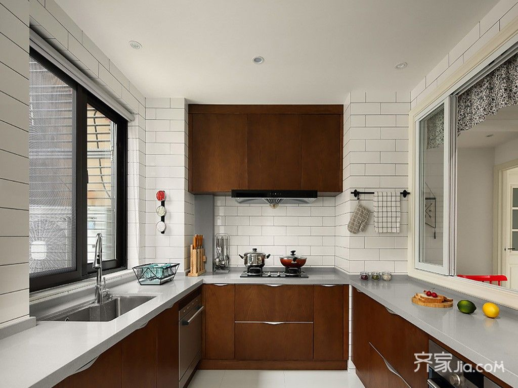 130平北欧风三居厨房装修效果图