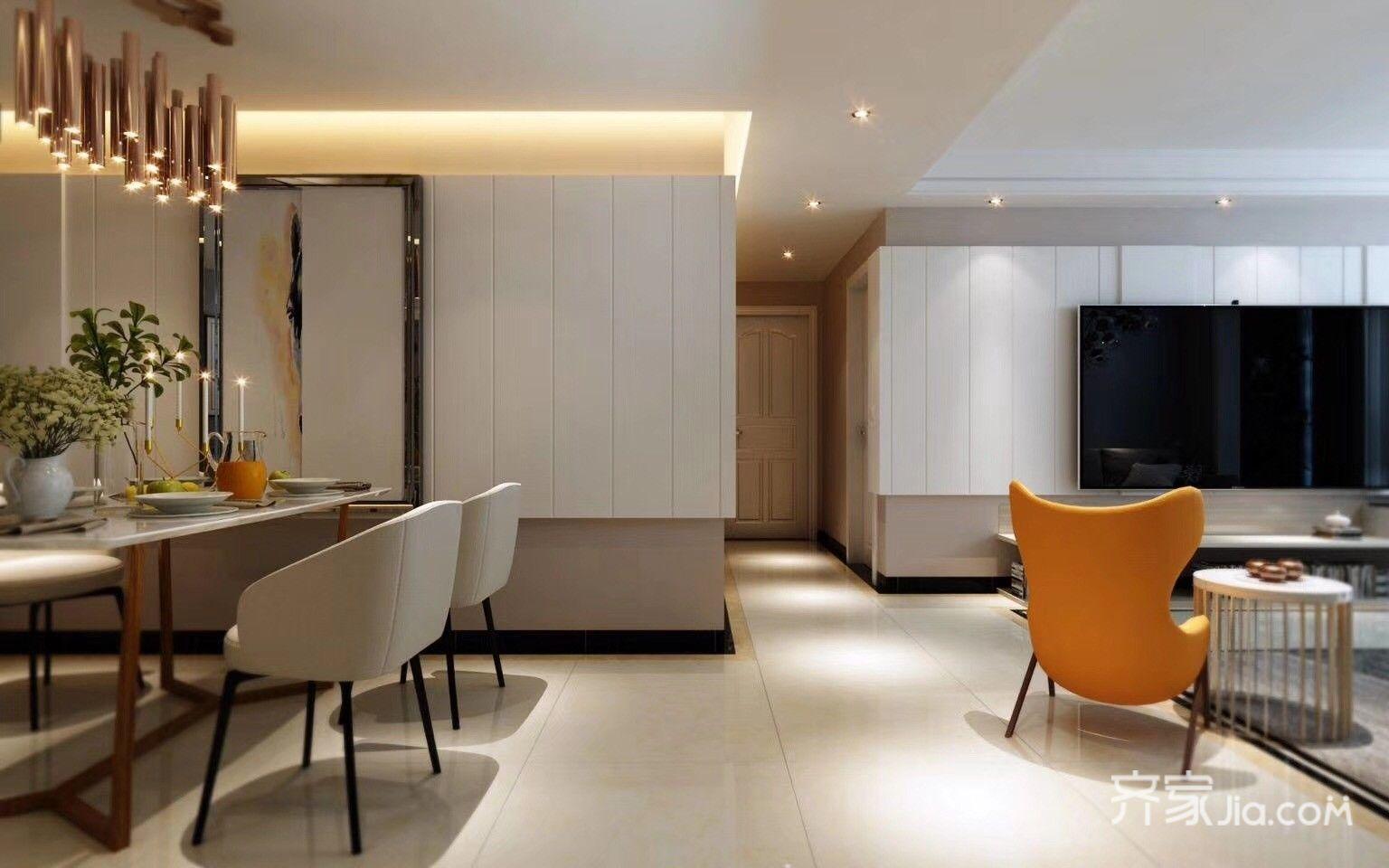简约北欧风三居室餐厅背景墙装修效果图