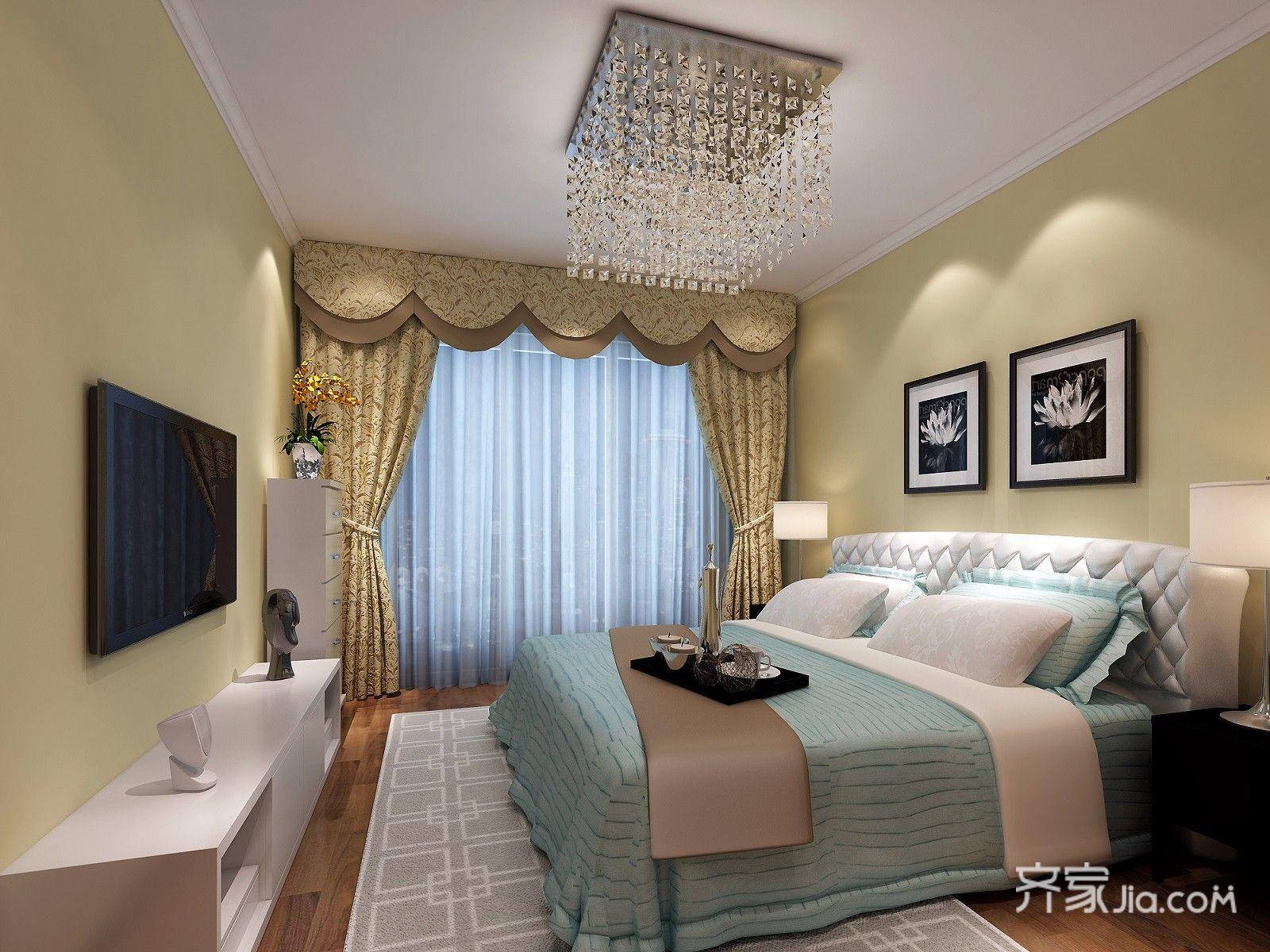 小户型美式田园风格卧室装修效果图
