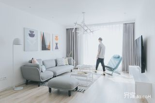 极简风格二居室客厅装修效果图
