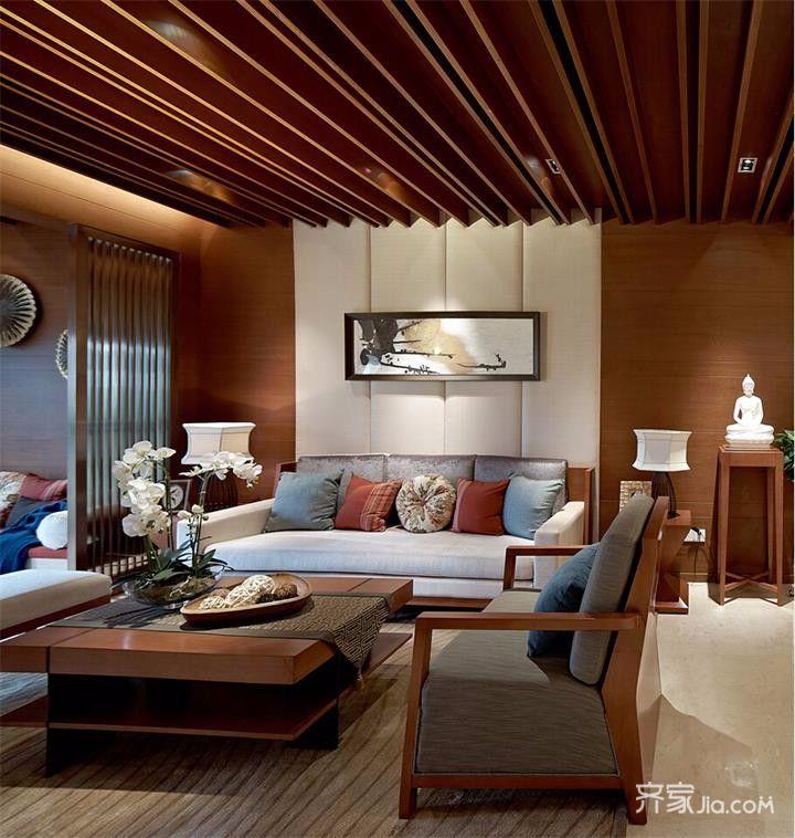 120平中式风格三居客厅装修设计图