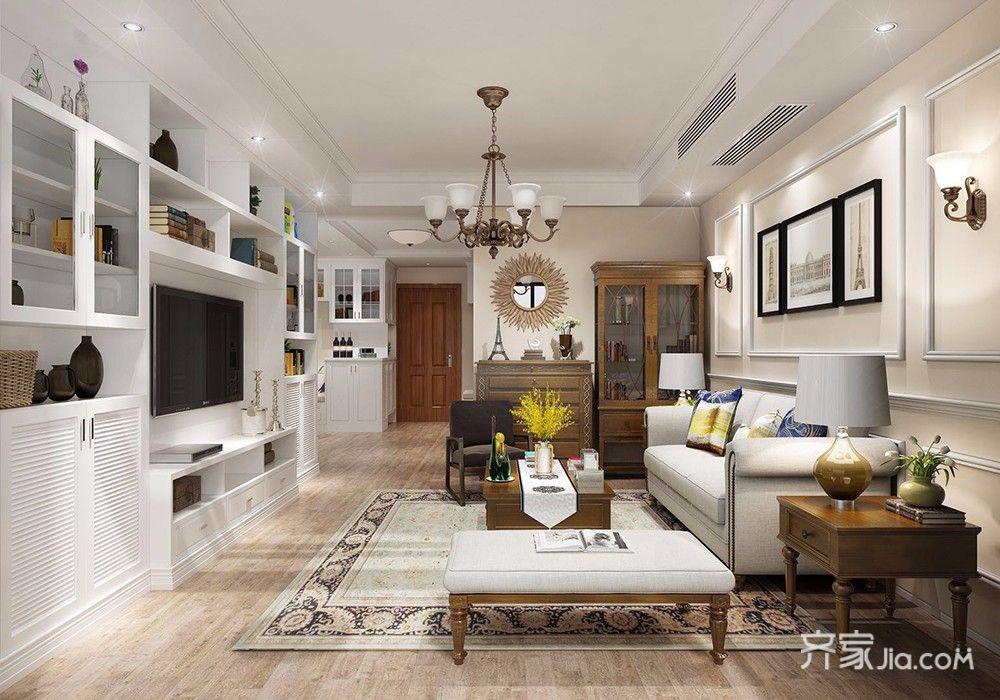 96平美式风格二居客厅装修效果图