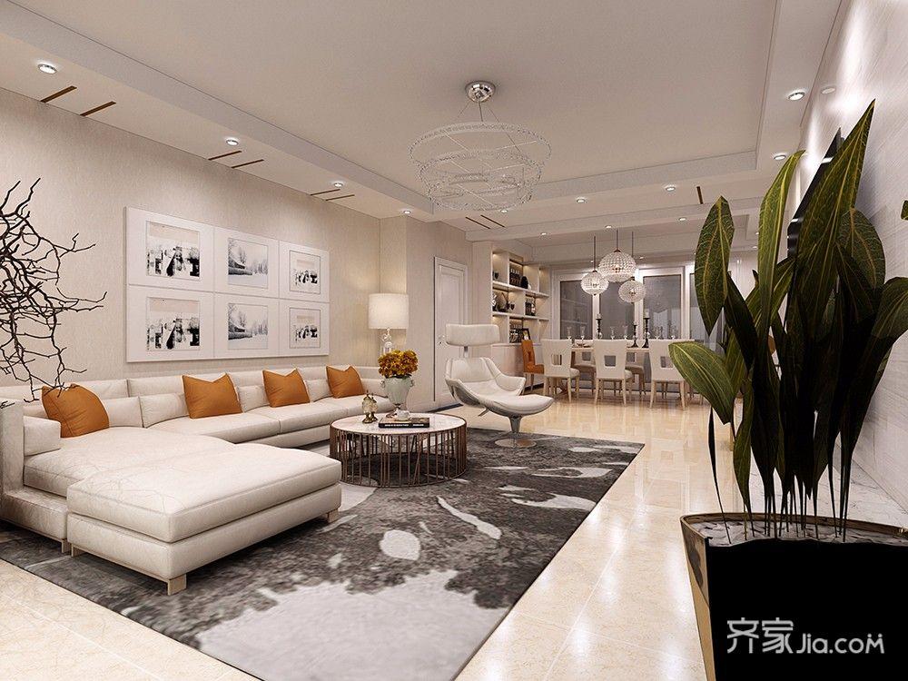 90平现代简约二居室沙发背景墙装修效果图