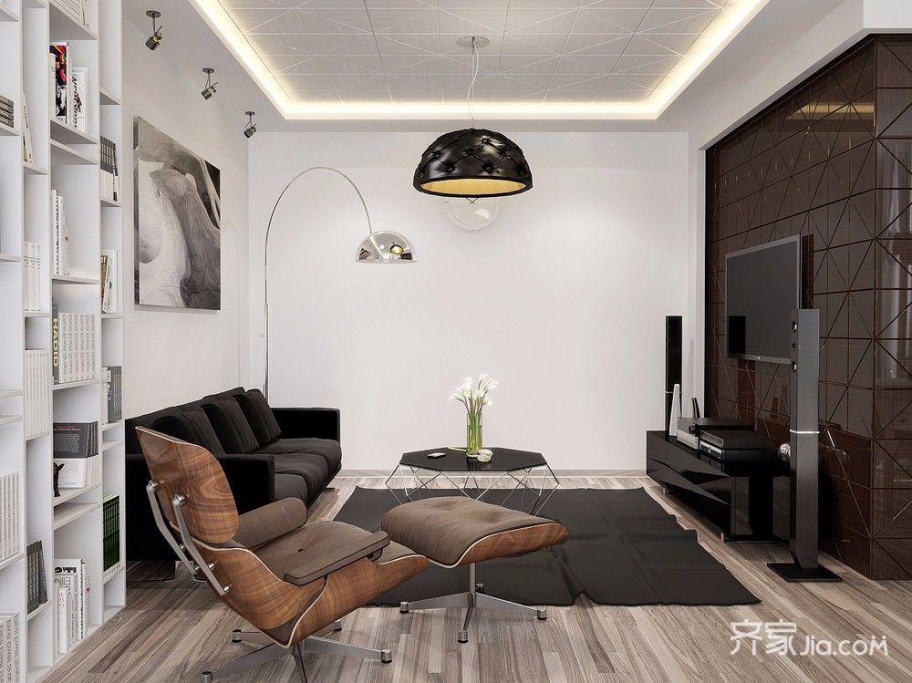混搭工业风公寓起居室装修效果图