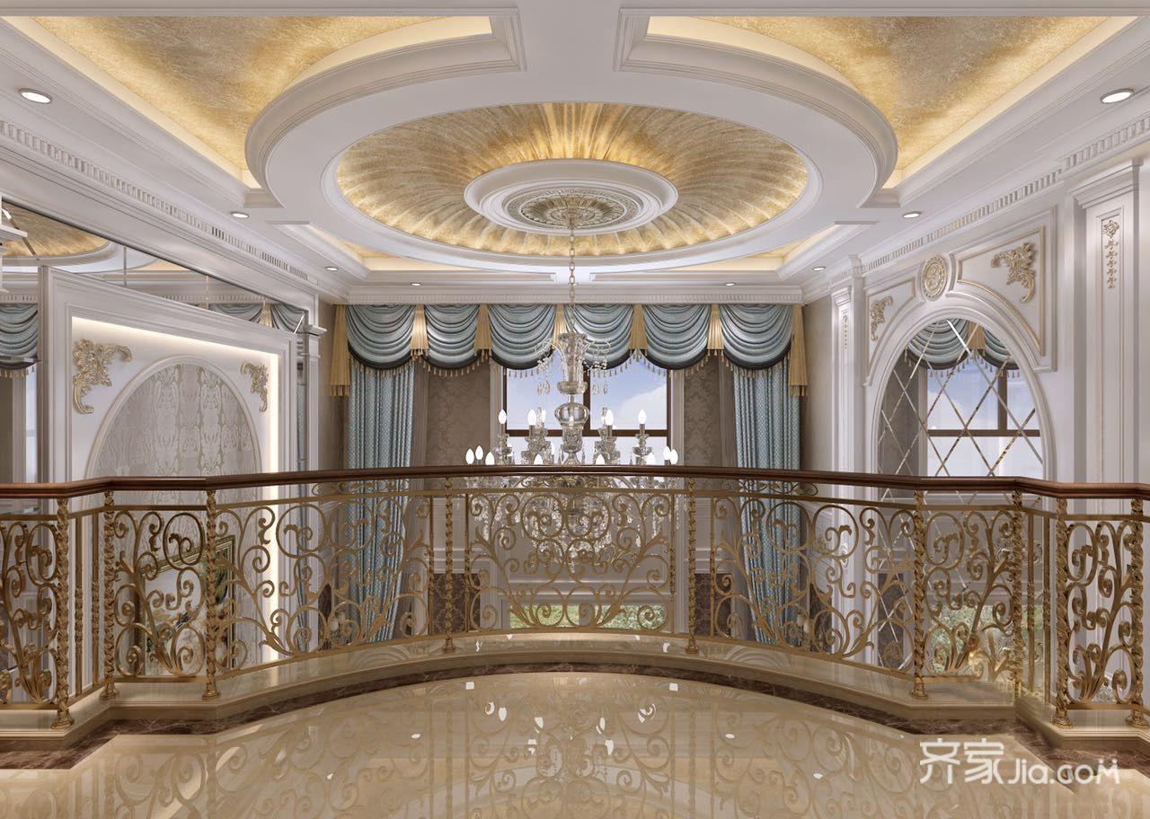 大户型豪华欧式别墅客厅吊顶装修效果图