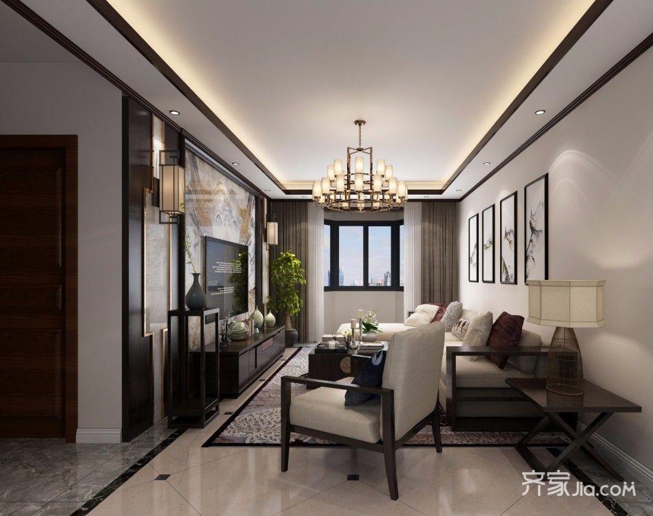 130平中式风三居客厅装修效果图