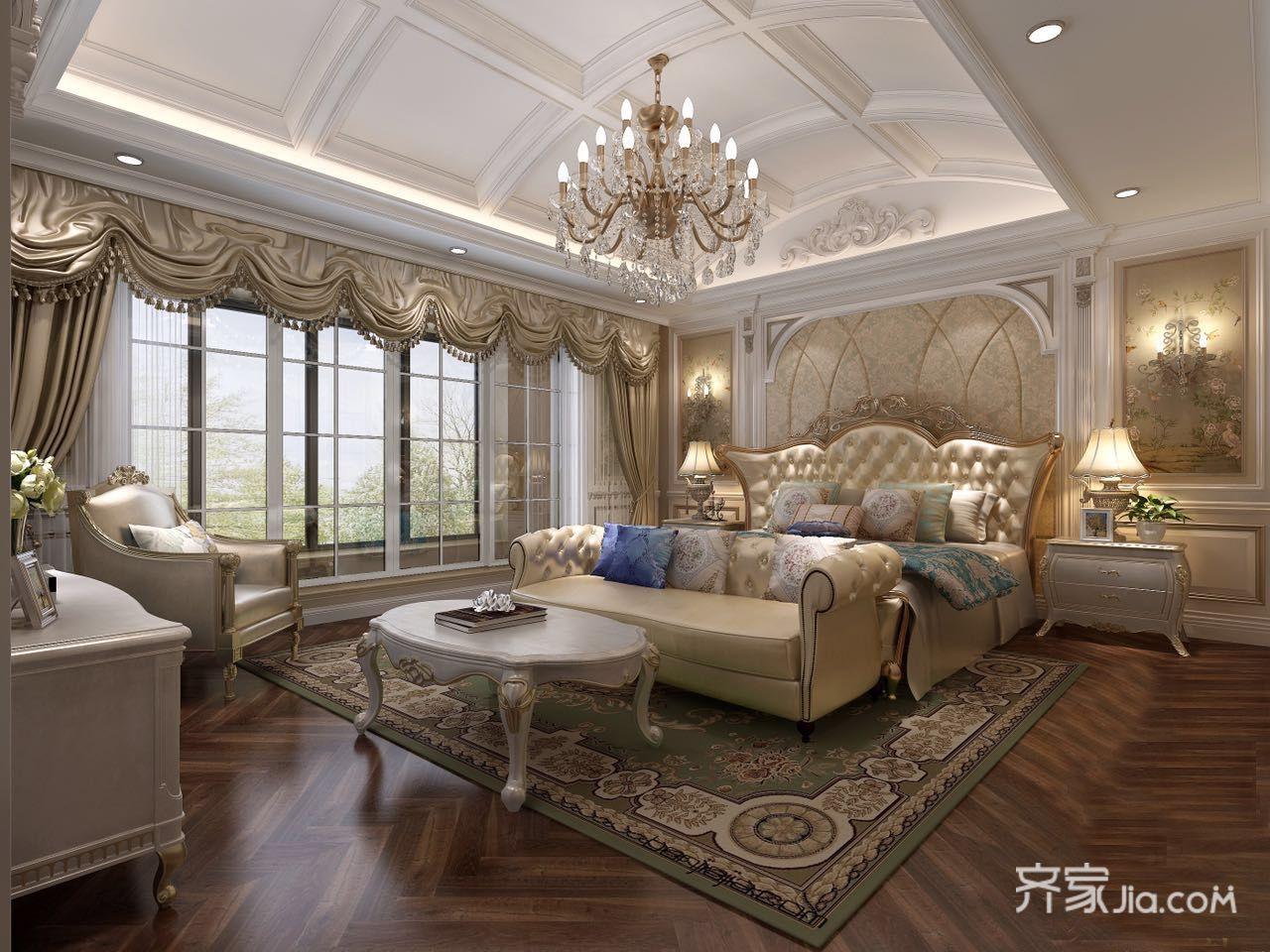 大户型豪华欧式别墅卧室装修效果图