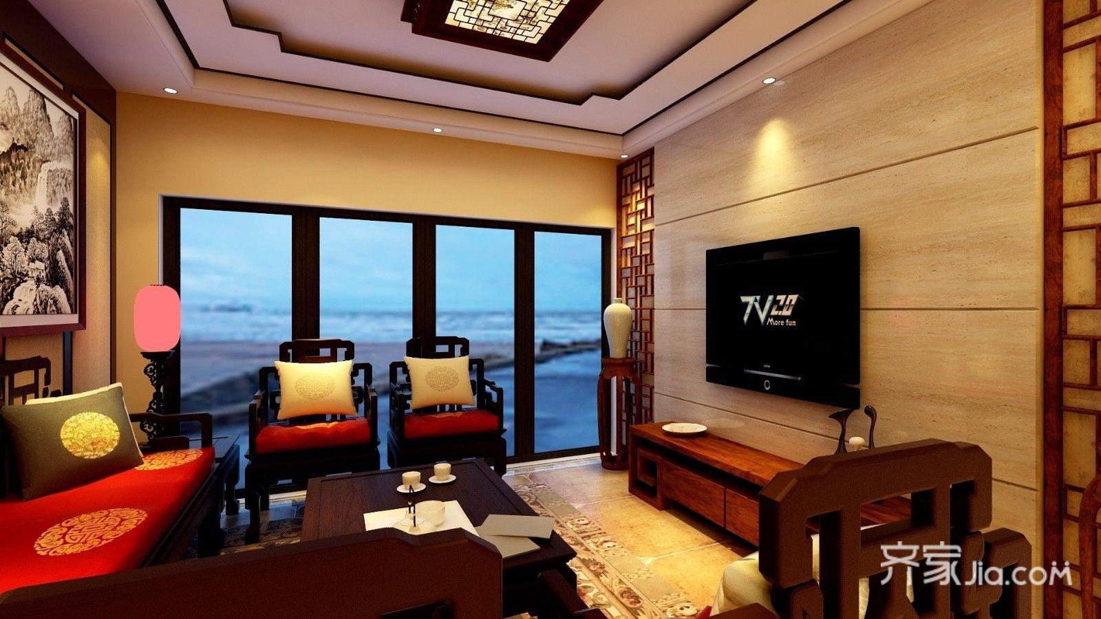 135平中式风格三居客厅装修效果图