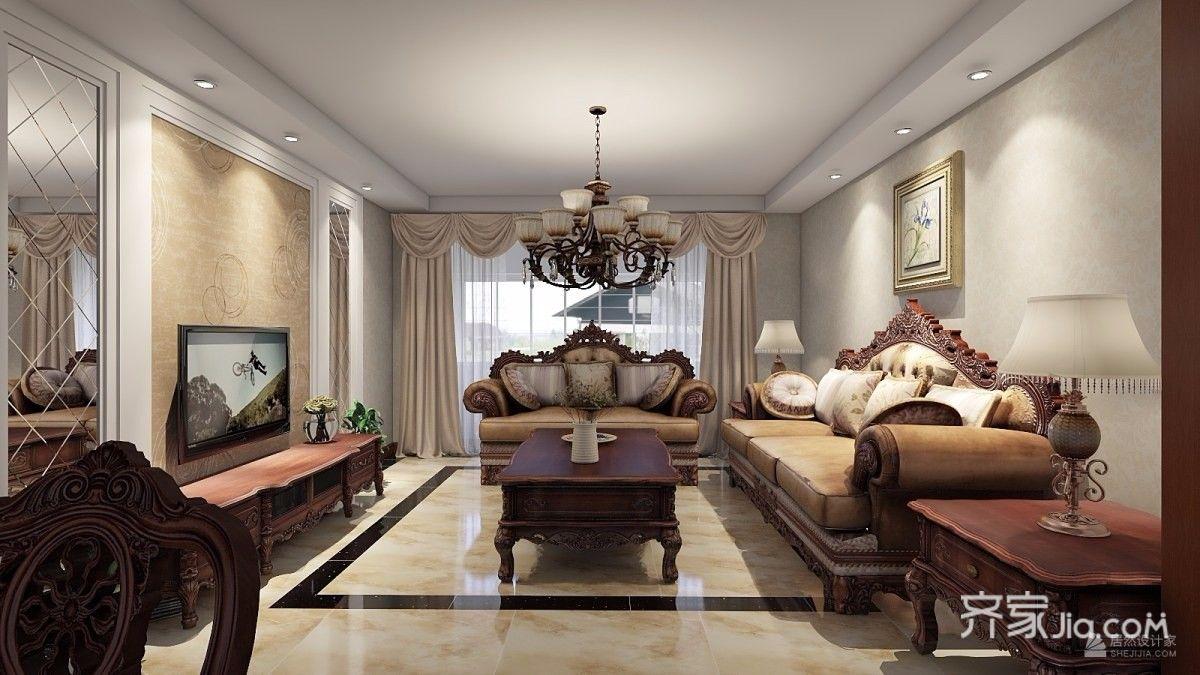 110㎡欧式风格三居客厅装修效果图