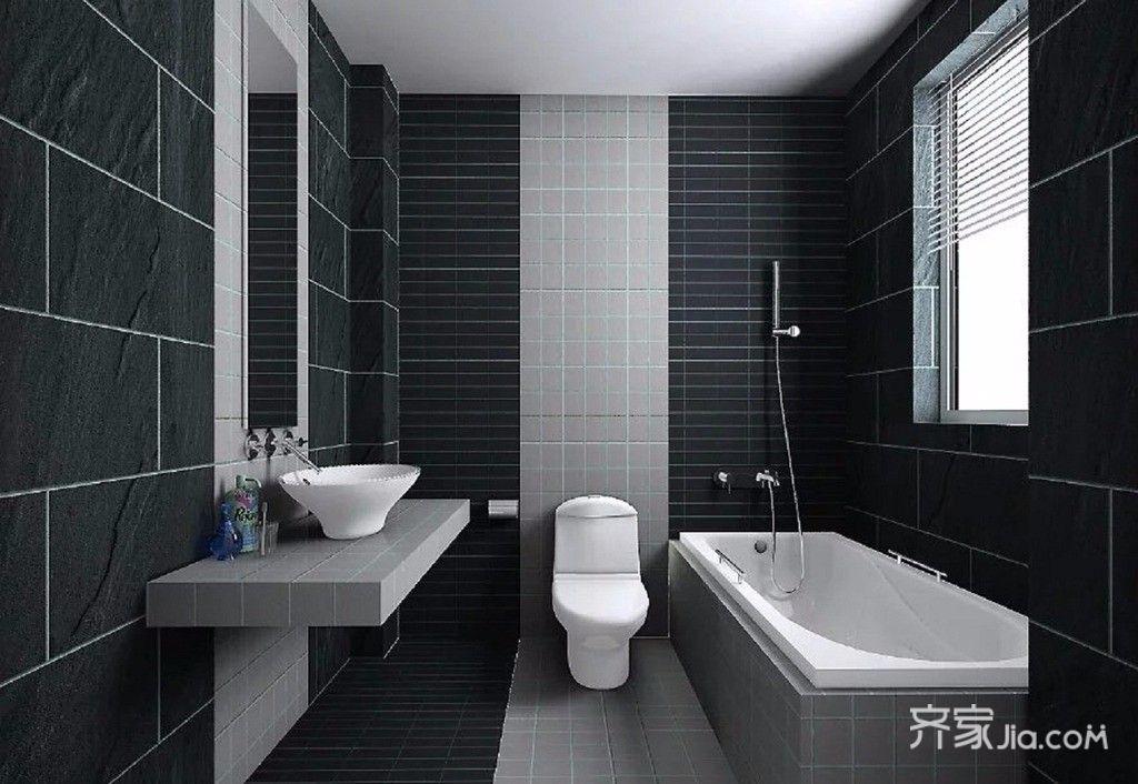 黑白现代简约风二居卫生间装修效果图