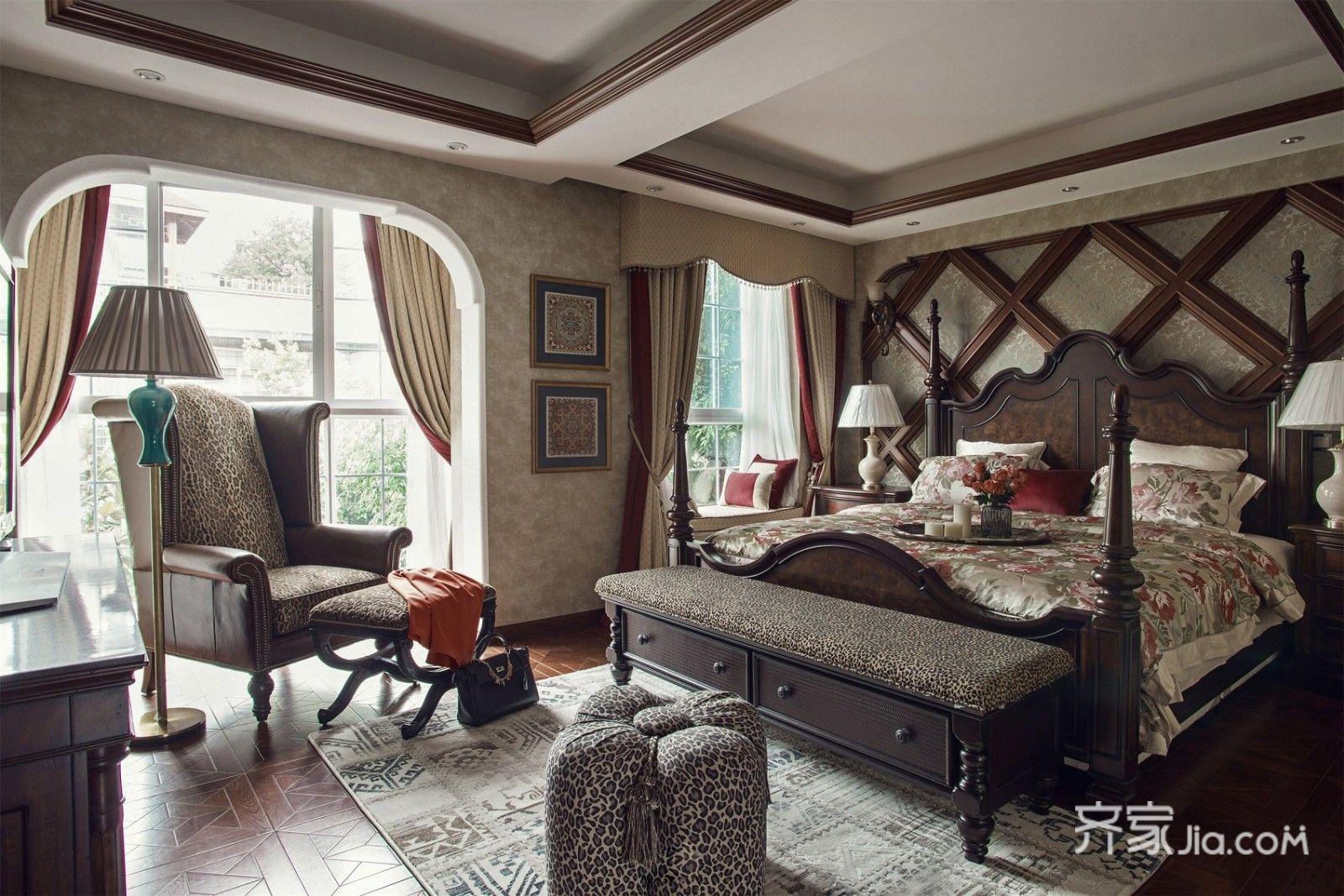 美式乡村风格四居卧室装修效果图