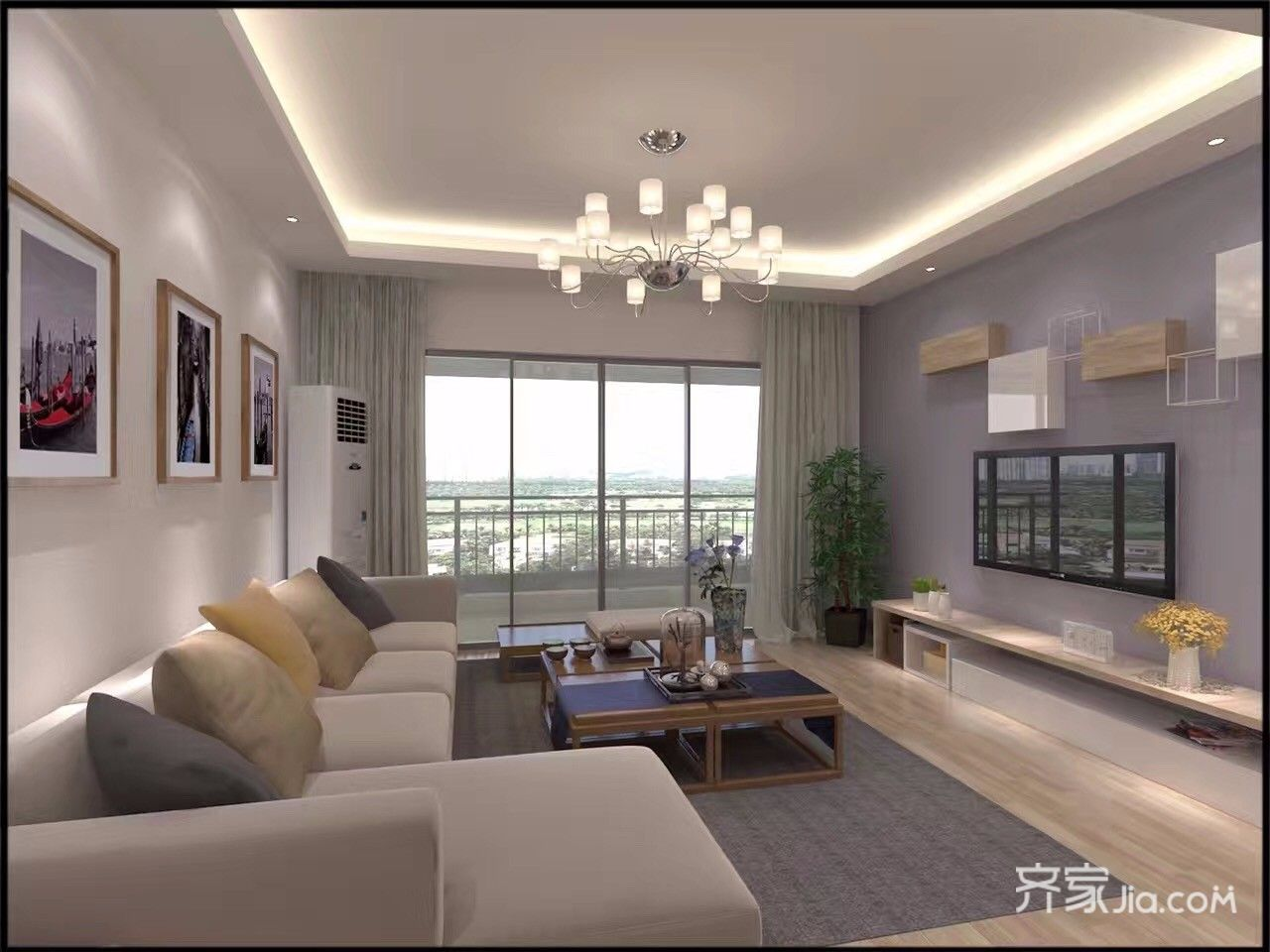115平简约三居室电视背景墙装修效果图