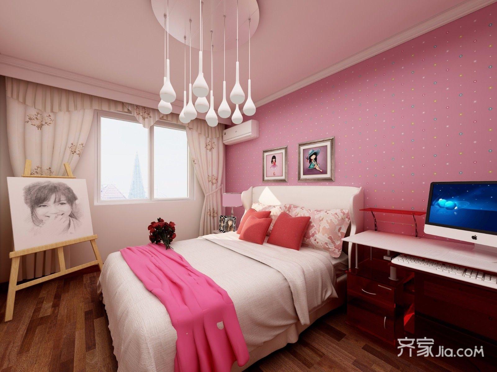 128平中式风格三居公主房装修效果图