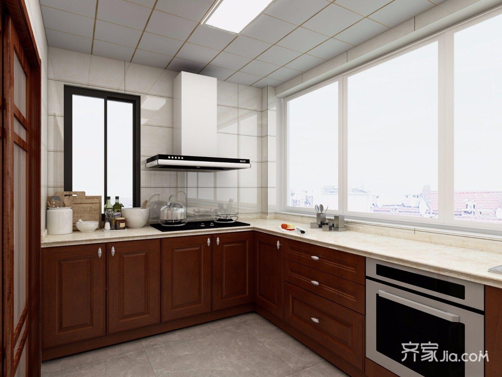 128平中式风格三居厨房装修效果图