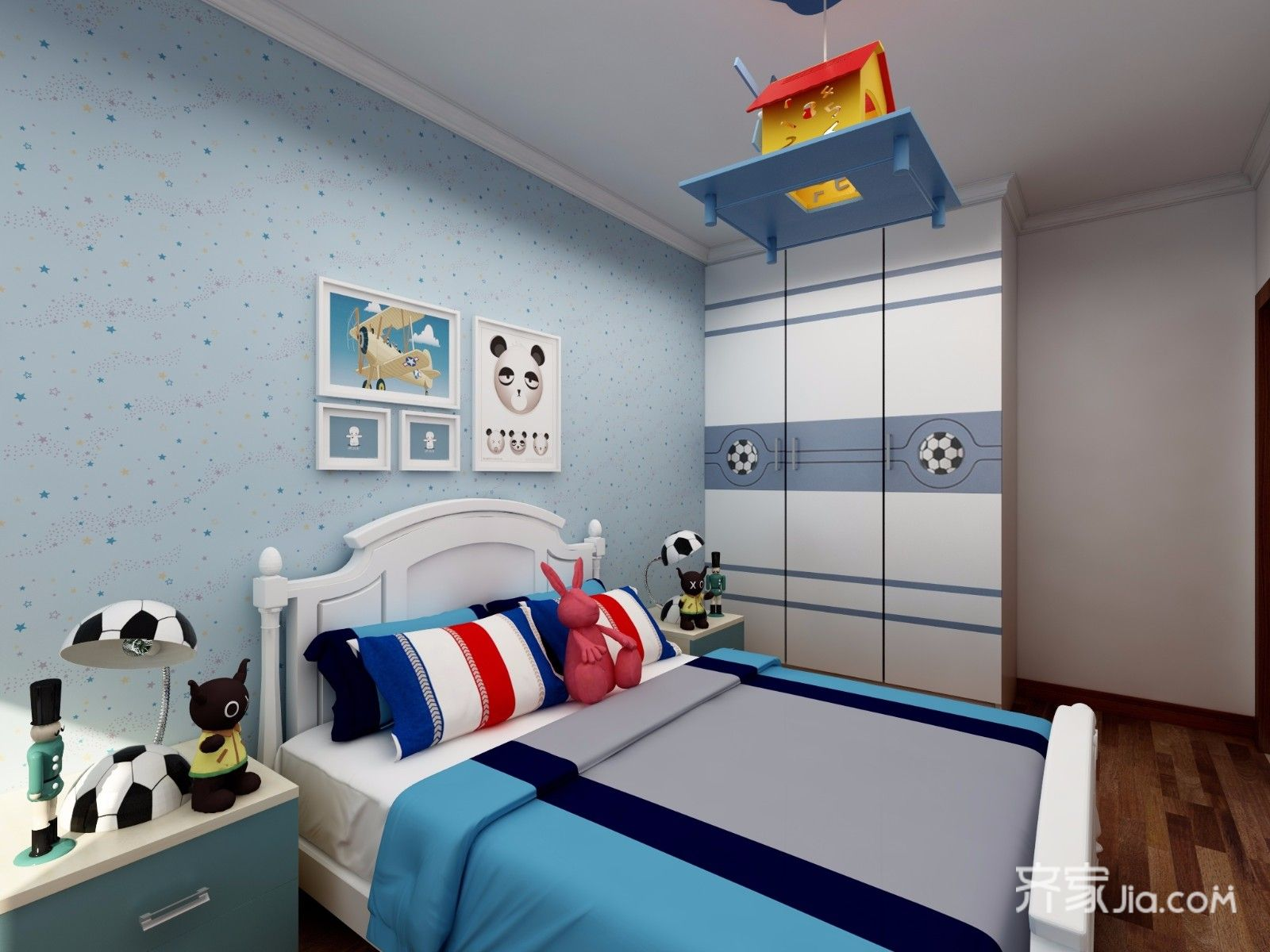 128平中式风格三居装修床品搭配图