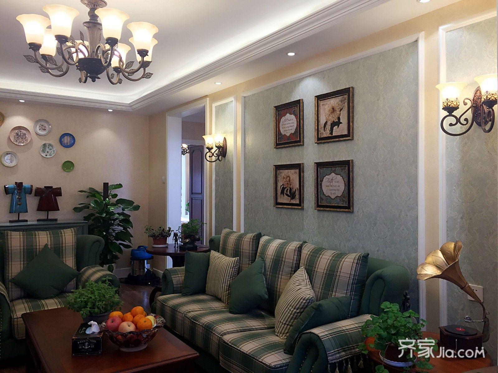 美式风格二居室客厅装修设计效果图